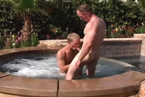 Hairy hunks get it on by the pool