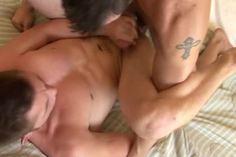 Tattooed homosexual receives booty Smashed Well
