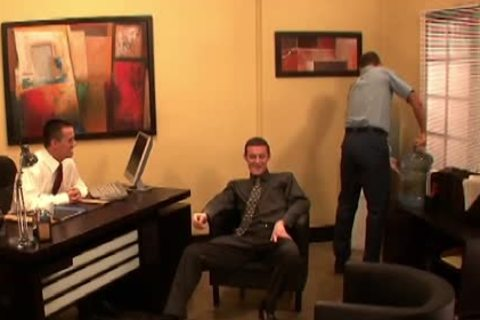 raunchy homosexual men fucking In three-some At Work