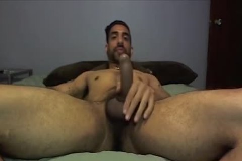 guy Strokes His delicious penis And jizzes In His Hand