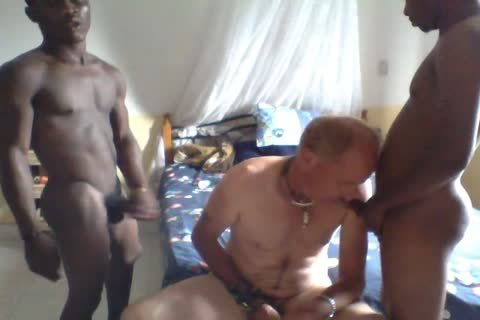 2 Africans On One White suck And slam