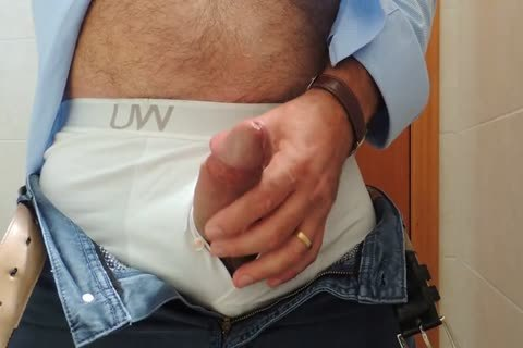 Teasing And wanking A wonderful Tool With Precum In Some White Boxer underwear