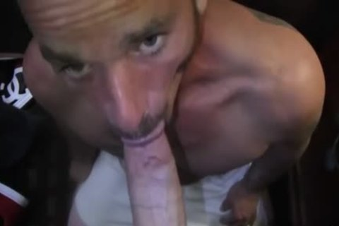 Tattoo homosexual blowjob-service With cumshot