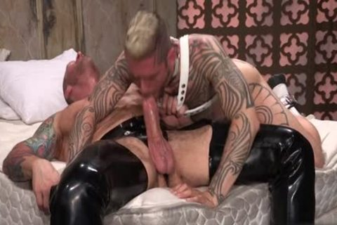Tattoo'd Muscle Beefcakes With Bum Love Behind pounding Fetish lick weenie And Take A cumshot