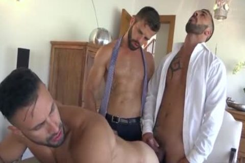 Muscle gay threesome And ball cream flow