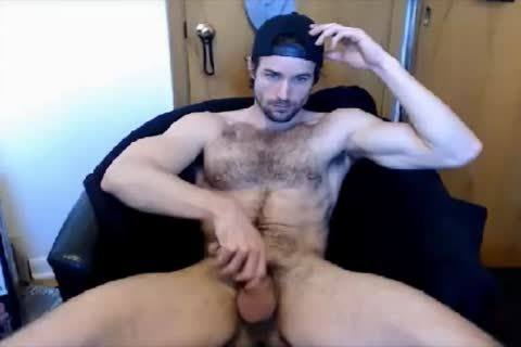 fashionable bushy lad cook jerking On cam