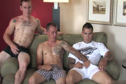 Tattoo Military 3some And penis juice flow