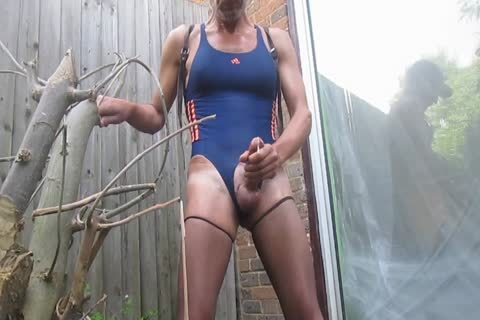 Outdoor love juice In Swimsuit And pantyhose