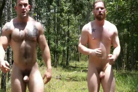 two Swinging cocks In The Woods