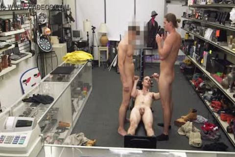 gay PAWN - Fitness Trainer receives anal team-pounded By Two Employees