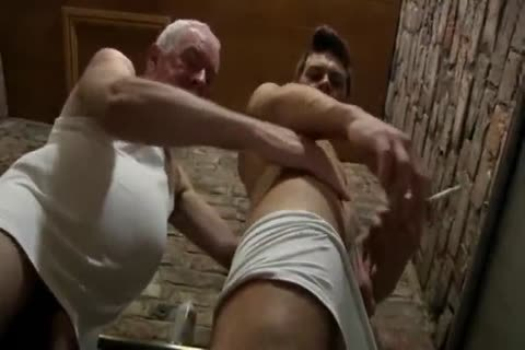 nice Looking grand-dad & young guy suck Each Other In A Public