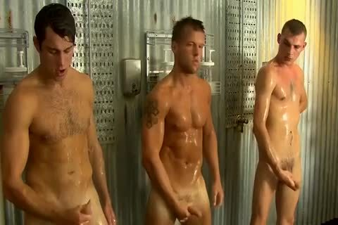 Straight dudes Jerking together In Groupshower