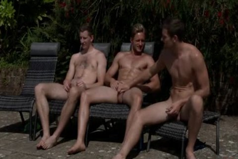 Three guy Jerking-off By The Swimmingpool