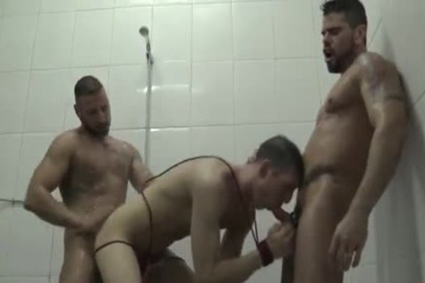 Dominated In The Shower three-some Pissing