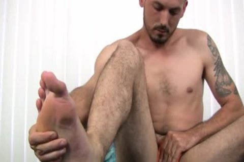 undressed Foot he Strokes His Uncut 10-Pounder Harder