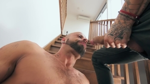 Tattooed Edan Wolf with Bo Sinn gagging