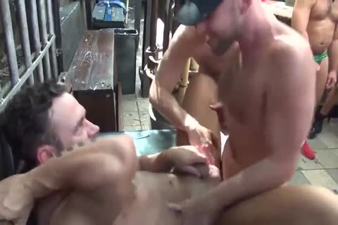 MusclePup Logan Moore receives bunch team-poked Barebacked nail