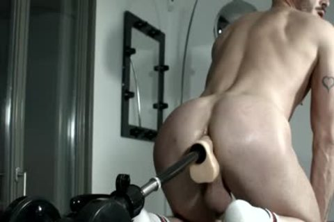 Muscled villein For Pervy pound Machine Session