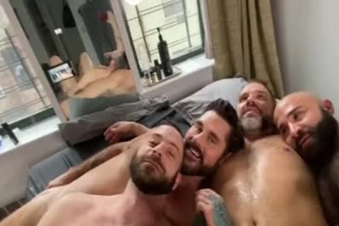 4 lustful Hunks fucking At Home