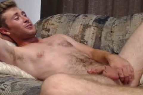 Blond chap Masturbates And Swallows His Own sex cream