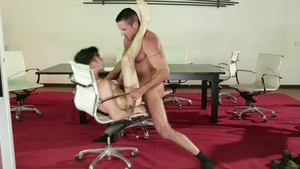 Icon Male: Muscled Nick Capra with Andy Banks in office