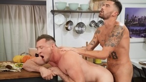 Drill My Hole: Archie sucking Pierce Paris on the table