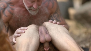 Icon Male: American Lance Charger bareback spanking outdoors