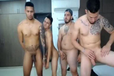bunch Of Latinos Touching And Caressing Each Other's 10-Pounder In Live