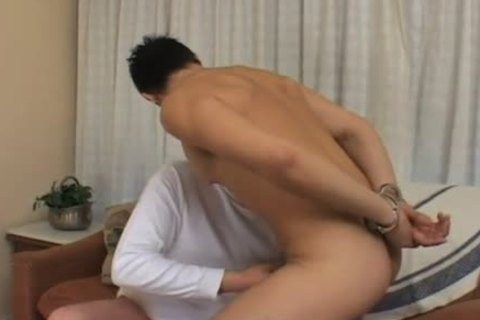 handcuffed twink receives dildo pushed up greetingss arse